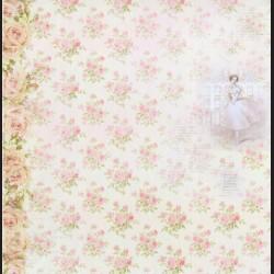 Papír na scrapbook 30,5 x 30,5 cm - Baletka, růžičky