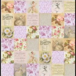Papír na scrapbook 30,5 x 30,5 cm - Balet kartičky