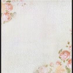 Papír na scrapbook 30,5 x 30,5 cm - Text s růžemi