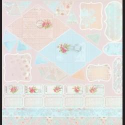 Papír na scrapbook 30,5 x 30,5 cm - Etikety romantic