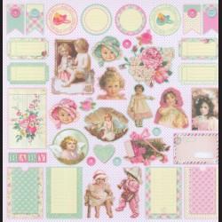 Papír na scrapbook 30,5 x 30,5 cm - Buttons & Bonnets