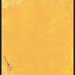 Papír na scrapbook 30,5 x 30,5 cm - Music žlutý