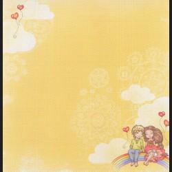 Papír na scrapbook 30,5 x 30,5 cm - Kluk a holka s duhou