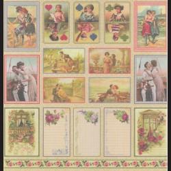 Papír na scrapbook 30,5 x 30,5 cm - Karty romantické