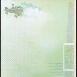 Papír na scrapbook 30,5 x 30,5 cm - Kluk v letadle