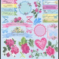 Papír na scrapbook 30,5 x 30,5 cm - Růže romantic