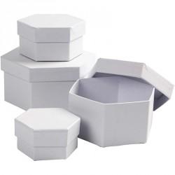 Bílá krabička šestihran - velká, cca 13,5x7cm