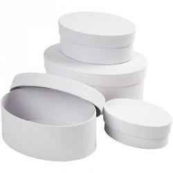 Bílá krabička ovál - velká, cca 15,5x10,5x7cm