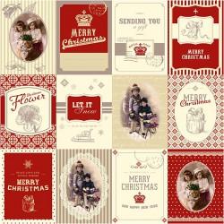 Papír na scrapbook 30,5 x 30,5 cm - Vánoční visačky