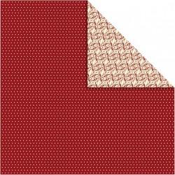 Papír na scrapbook 30,5 x 30,5 cm - Puntíkovaný červený