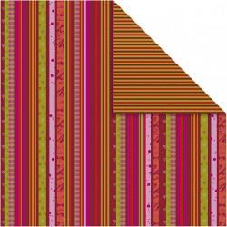 Papír na scrapbook 30,5 x 30,5 cm - Pruhovaný vánoční