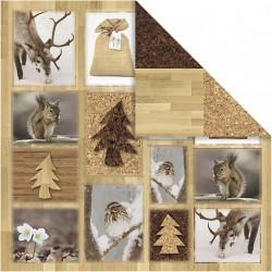 Papír na scrapbook 30,5 x 30,5 cm - Lesní motivy