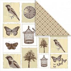 Papír na scrapbook 30,5 x 30,5 cm - Ptáčci, motýli