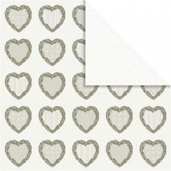 Papír na scrapbook 30,5 x 30,5 cm - Srdce ornament