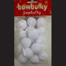 Plyšové bambulky bílé